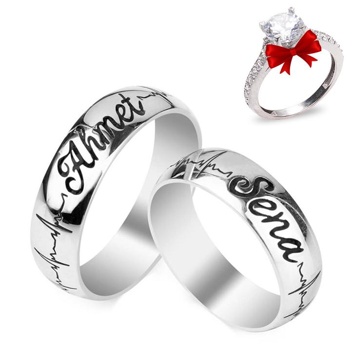 İsimli Kalp Ritmi Gümüş Alyans Çifti