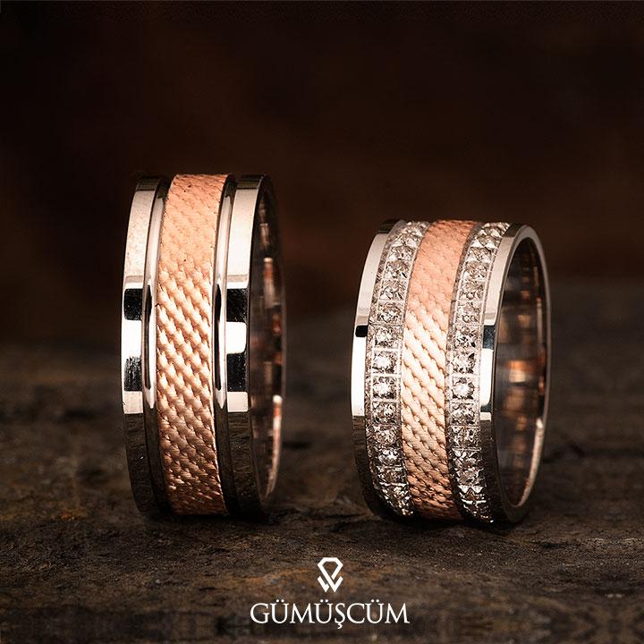 Kamelya Modeli Gümüş Alyans Çifti