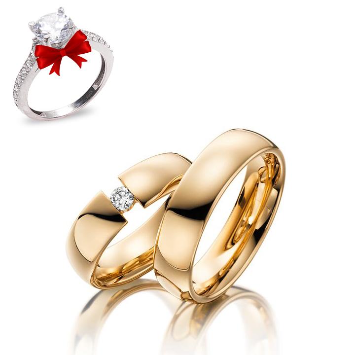 Tek Taş Modeli Altın Kaplama Gümüş Alyans Çifti