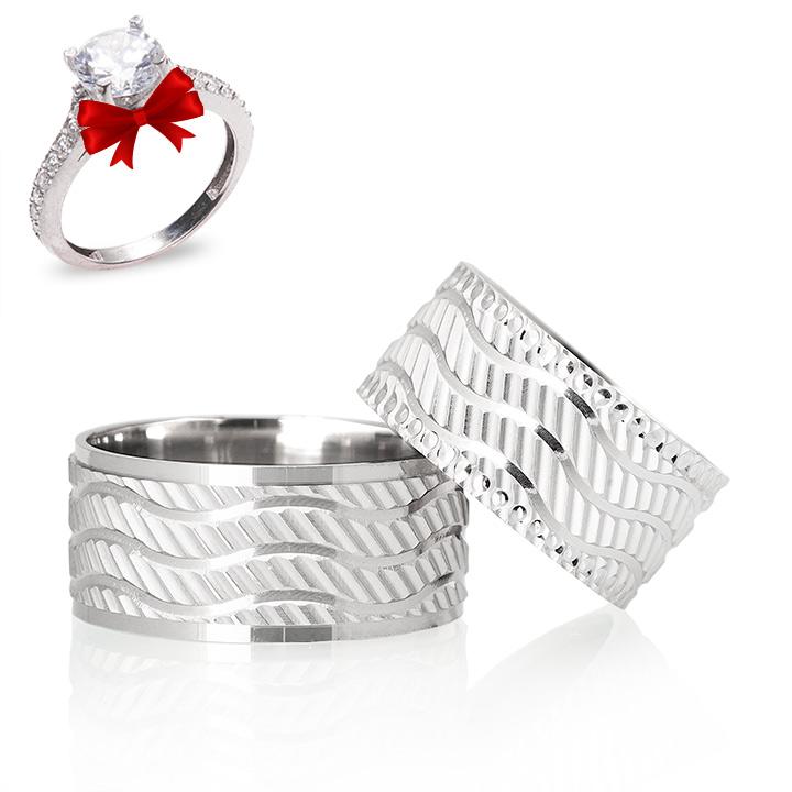 Duygu Modeli Gümüş Alyans Çifti Nişan Yüzükleri