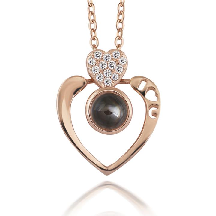 Siyah Taşlı Çift Kalp Bayan Gümüş Kolye