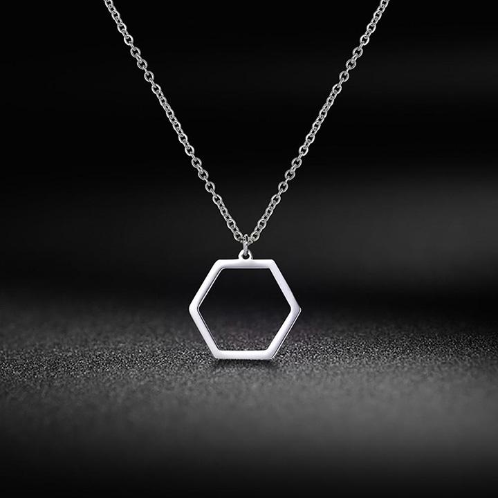 Altıgen Geometrik Minimal Gümüş Kolye