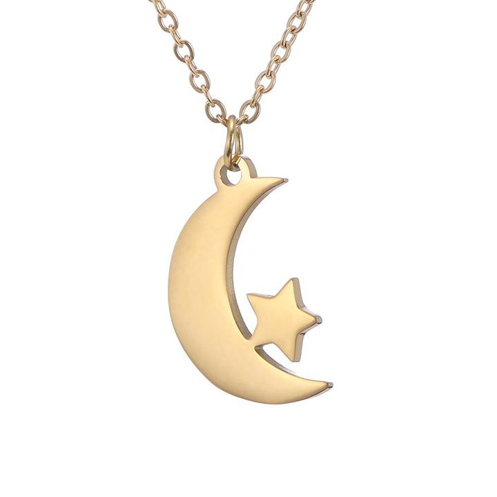 Ay Yıldız Tasarım Altın Kaplama Gümüş Kolye