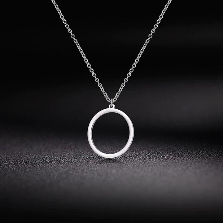 Daire Geometrik Minimal Gümüş Kolye