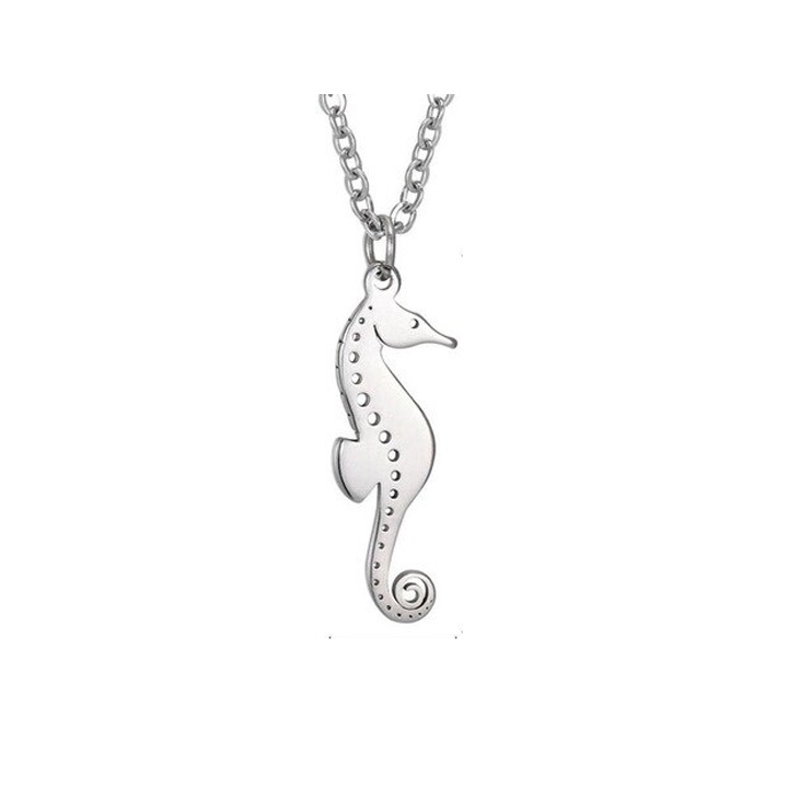 Deniz Atı Hayvanlı Gümüş Kolye