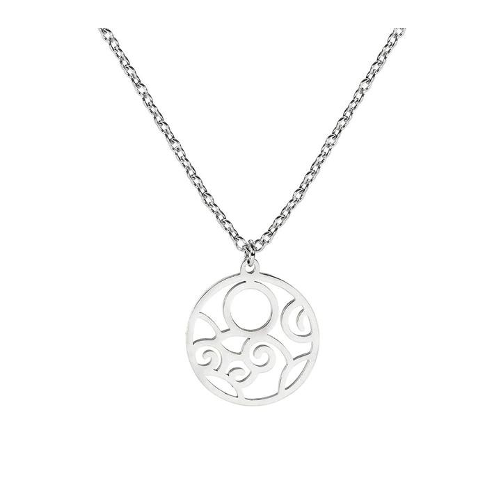 Desenli Lazer Kesim Minimalist  Gümüş Kolye