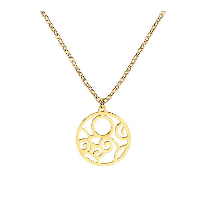 Desenli Lazer Kesim Minimalist  Altın Kaplama Gümüş Kolye