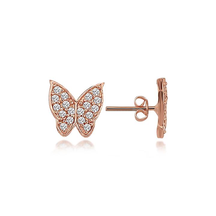 Beyaz Taşlı Mini Kelebek Rose Kaplama Bayan Gümüş Küpe