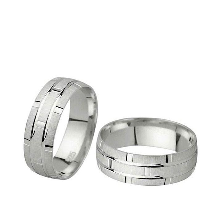 Vol Gümüş Alyans Modeli Bay Nişan Yüzüğü