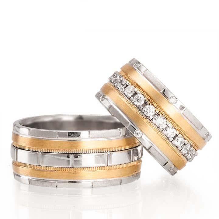 Aqua Altın Kaplama Gümüş Alyans Modeli Bay Alyans