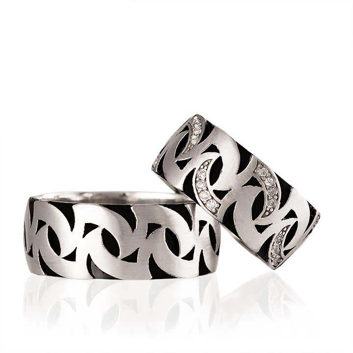 Siyah Rodajlı Motif Model Bay Gümüş Alyans