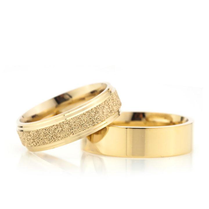Altın Kaplama Çizgili Klasik 6 mm Bayan Gümüş Alyans