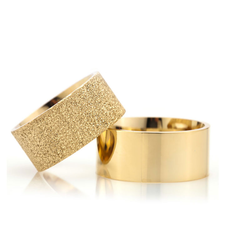 Altın Kaplama Kumlu Klasik 10 mm Bay Gümüş Alyans