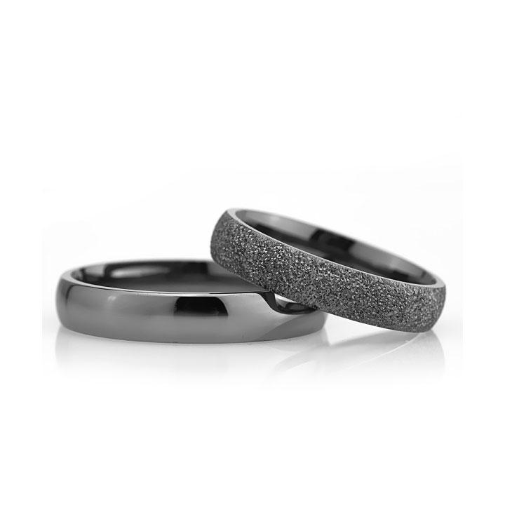Bombeli 4mm Siyah Bay Gümüş Alyans  Söz ve Nişan Yüzüğü