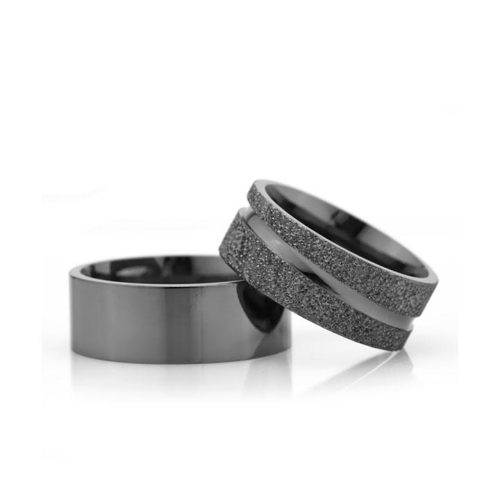 Siyah 8mm Bayan Gümüş Alyans Modeli Çizgili Nişan Yüzüğü