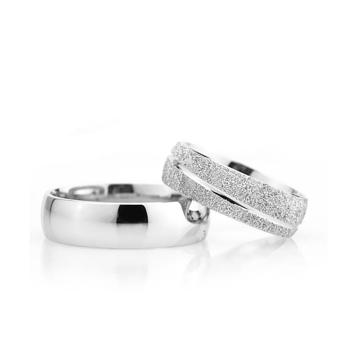 Çizgili Gümüş Alyans Modeli Bombeli Bay Nişan ve Söz Yüzüğü