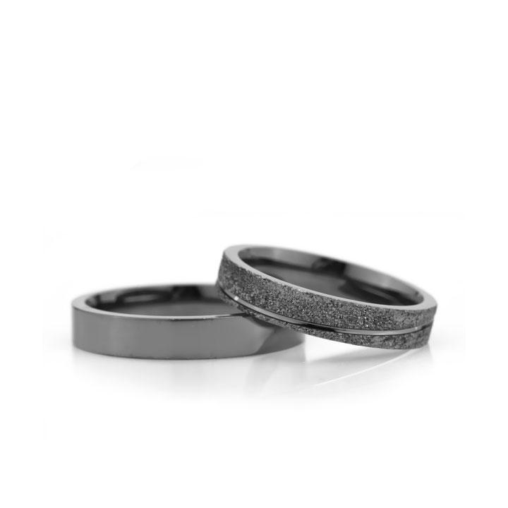 Klasik Bombeli Siyah Bay Gümüş Alyans Söz Yüzüğü