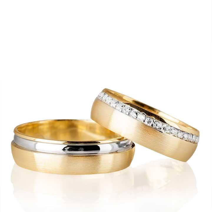 Zarif Modeli Altın Kaplama Bay Gümüş Alyans