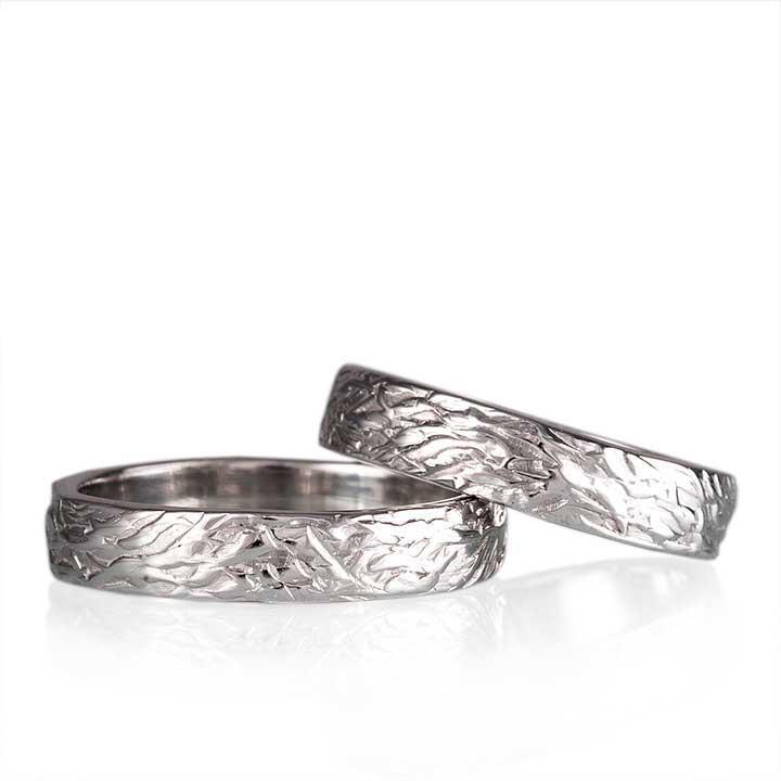 Ağaç Kabuğu Gümüş Alyans Bay Nişan ve Söz Yüzüğü
