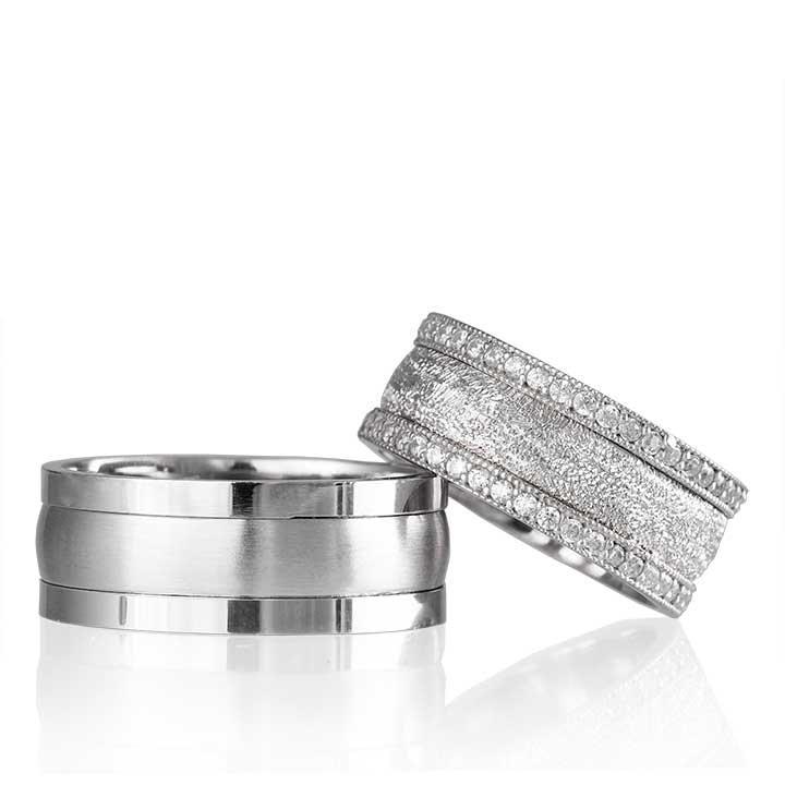 Simli Taşlı  Bombeli Bay Gümüş Alyans