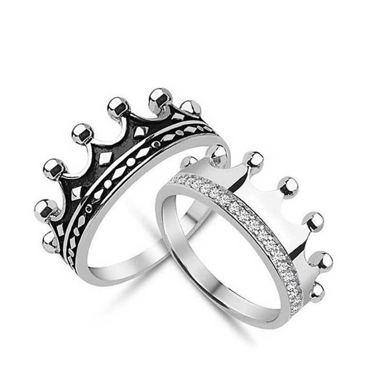 Kral Kraliçe Modeli Bay Gümüş Alyans