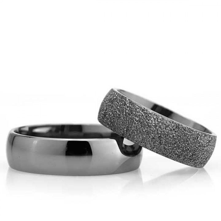 Bombeli Siyah 6mm Bayan Gümüş Alyans Nişan ve Söz Yüzüğü