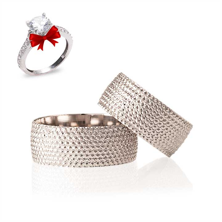 Shine Modeli Gümüş Alyans Çifti Nişan ve Söz Yüzüğü