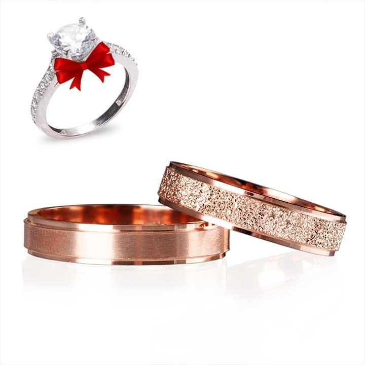 Rose Lazerli  Gümüş Alyans Çifti Nişan ve Söz Yüzüğü
