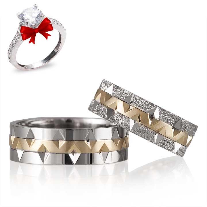Simli V Model El işi Gümüş Alyans Çifti