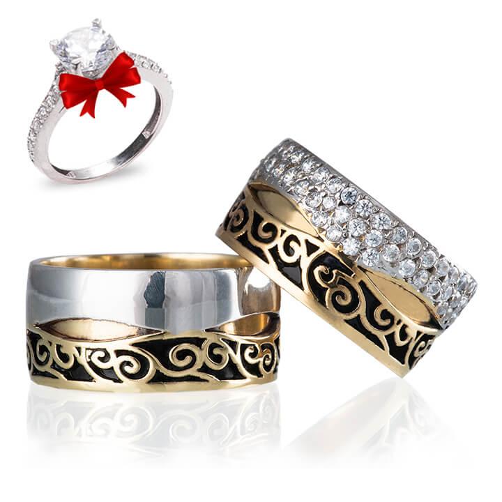 Kavera Modeli Gümüş Alyans Çifti