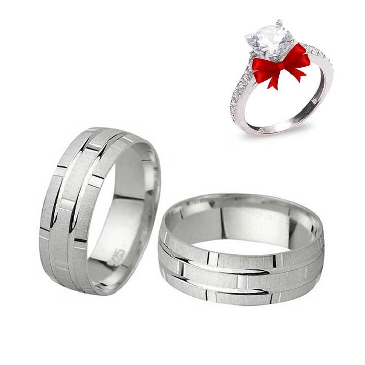 Vol Gümüş Alyans Modeli Nişan Yüzüğü
