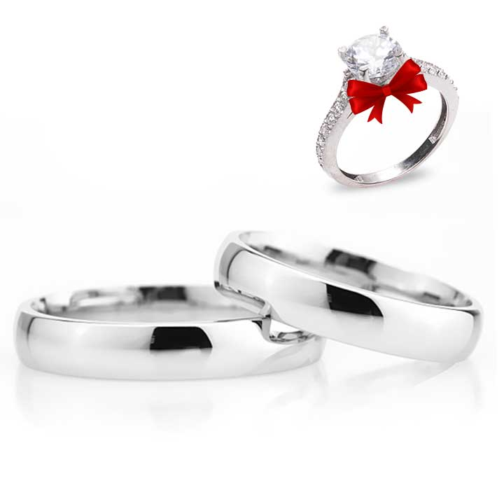 Bombeli Sade Gümüş Alyans Modeli Çift Alyans Nişan ve Söz Yüzüğü