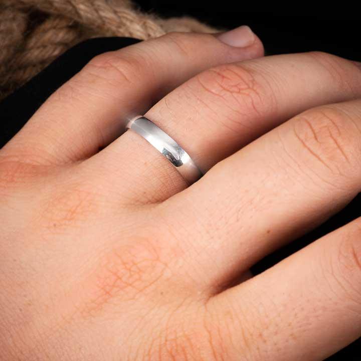 Bombeli Sade Gümüş Alyans Modeli Bay Alyans Nişan ve Söz Yüzüğü