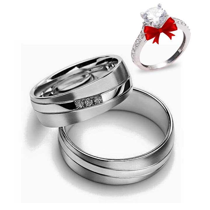 Beyaz Trio Gümüş Alyans Modeli Nişan ve Söz Yüzüğü
