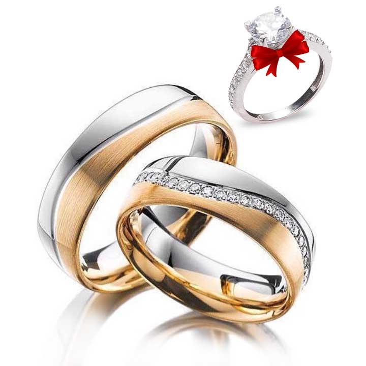 Mylove Taşlı Altın Kaplama Gümüş Alyans Çifti