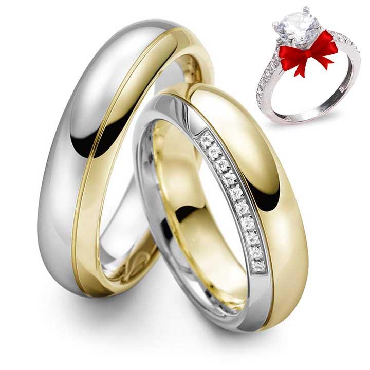 Bombeli Modeli Altın Kaplama Gümüş Alyans Çifti