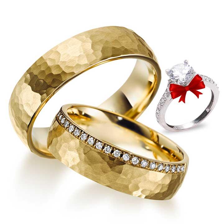 Honey Modeli Taşlı Altın Kaplama Gümüş Alyans Çifti