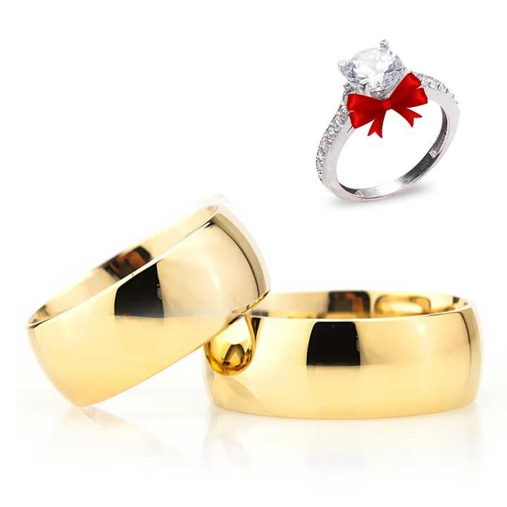 Altın Kaplama Bombeli Gümüş Alyans Modeli Alyans Çifti