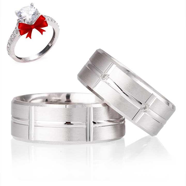 Lale Modeli Gümüş Alyans Çifti