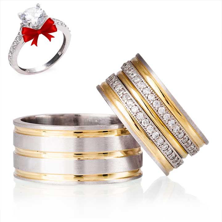 Açelya Modeli Gümüş Alyans Çifti