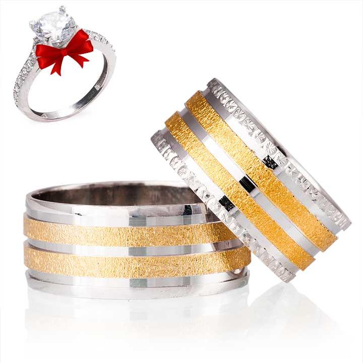 Altın Yasemin Gümüş Alyans Modeli Söz ve Nişan Yüzükleri