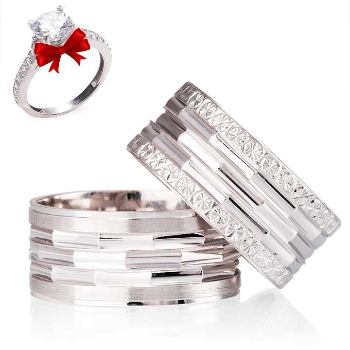 Petunya Nişan Yüzüğü Gümüş Alyans Çifti