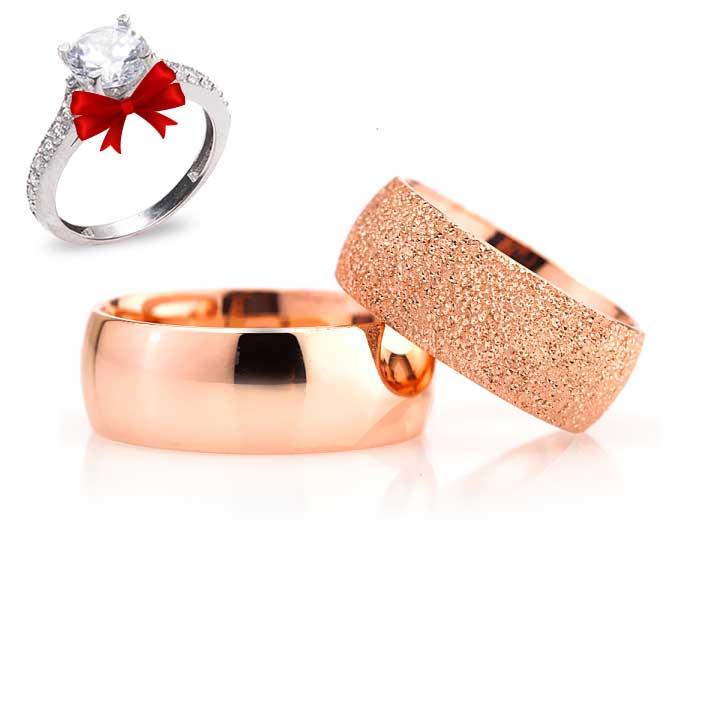 Roze Bombeli Model Gümüş Alyans Çifti Nişan ve Söz Yüzükleri