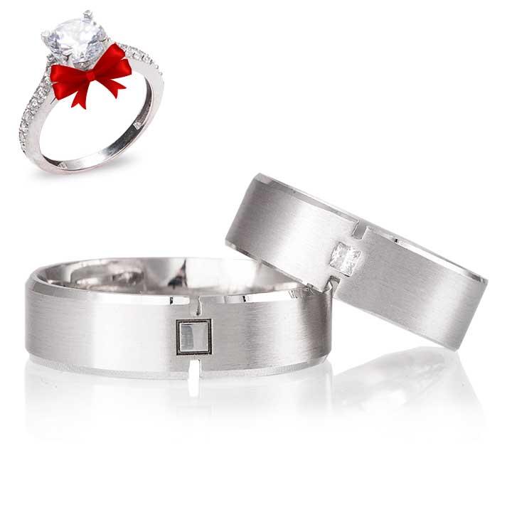 Çizgi Modeli Gümüş Alyans Çifti Nişan Yüzüğü