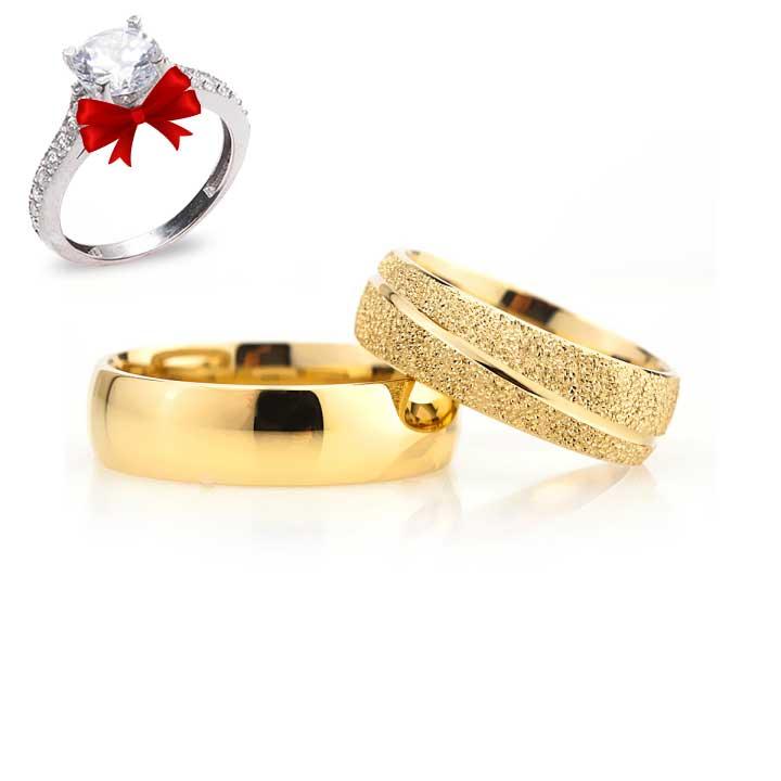Simli Çizgili Model Altın Kaplama Gümüş Alyans Çifti