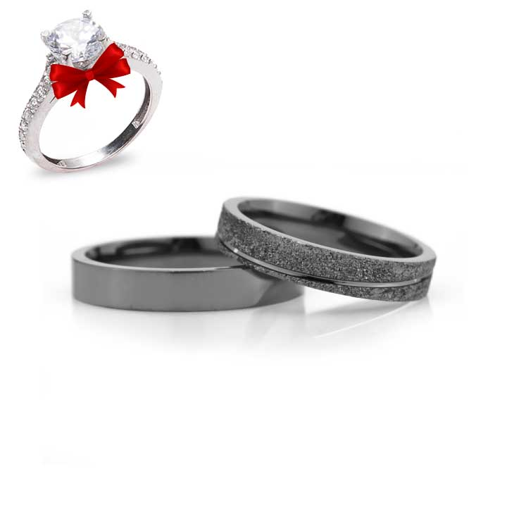 Klasik Bombeli Siyah Gümüş Alyans Söz Yüzüğü Çifti
