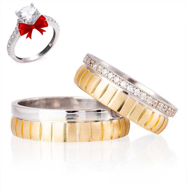 Ladin Modeli Gümüş Alyans Çifti
