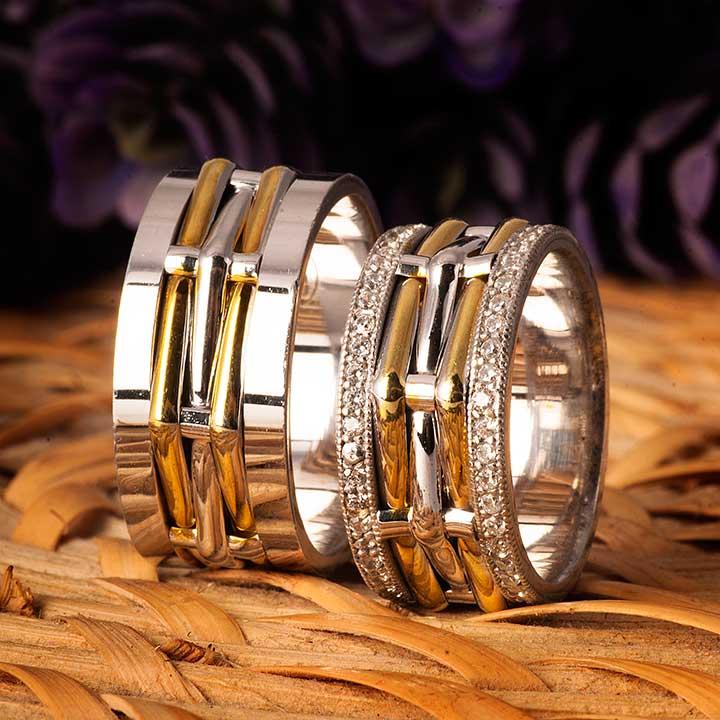 Tifani Modeli Altın Kaplama Bay Gümüş Alyans