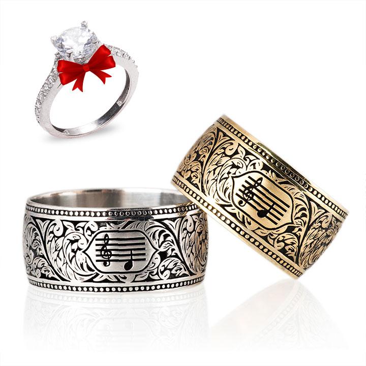 Motifli Melodi Modeli İsimli Gümüş Alyans Çifti