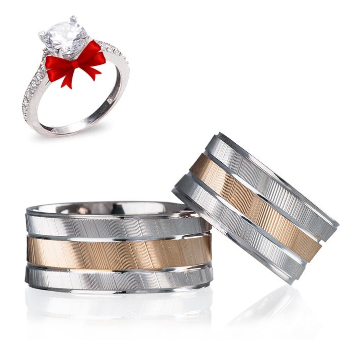 Rose Çizgili Gümüş Alyans Modeli Alyans Çifti